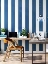 地中海墙纸现代简约蓝白竖条纹儿童房男生卧室蓝色无纺布