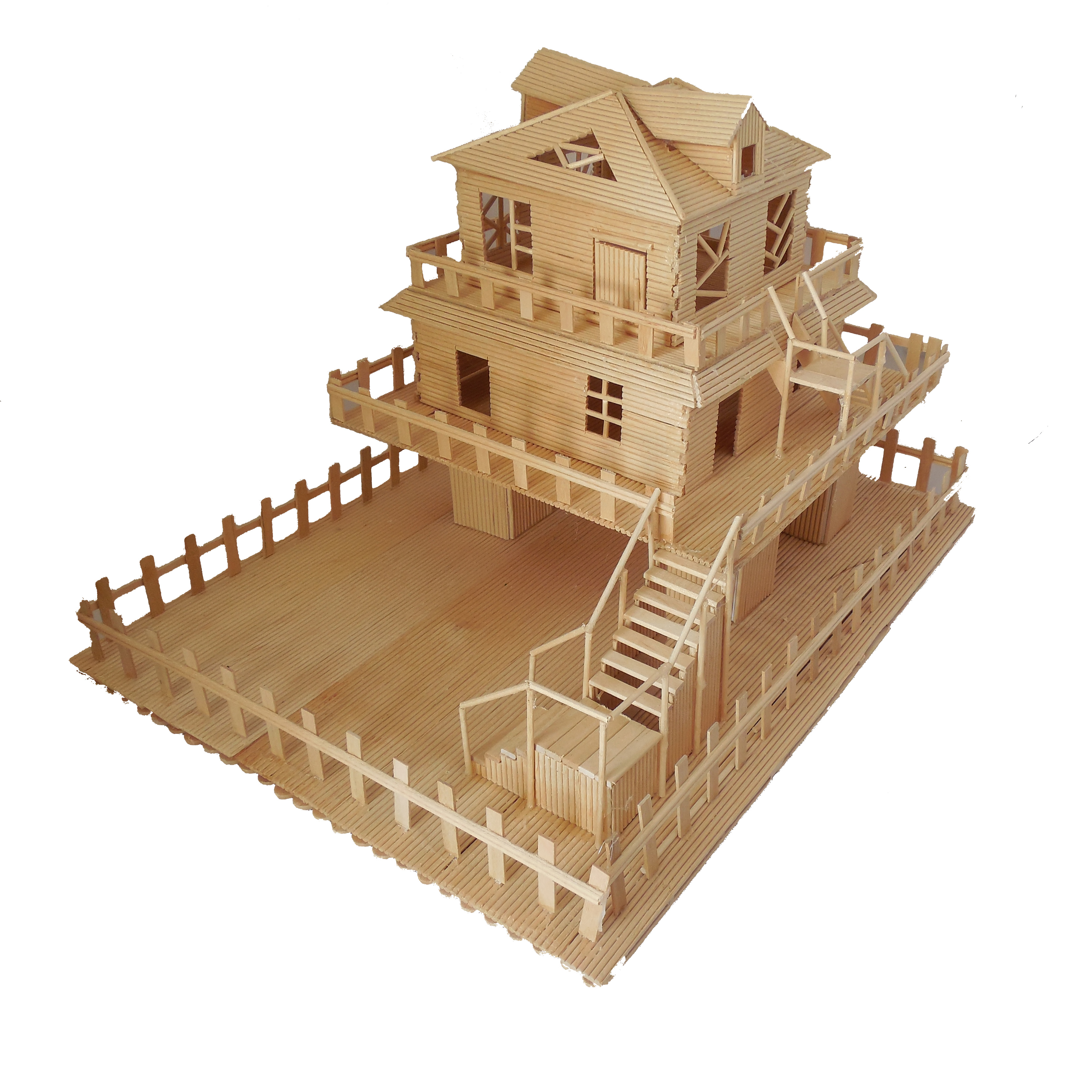 Toothpick sticks handmade diy production house garden for Model house building materials