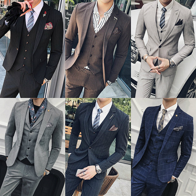 春秋季潮流条纹小西装男外套修身韩版发型师英伦西服v潮流商务套装