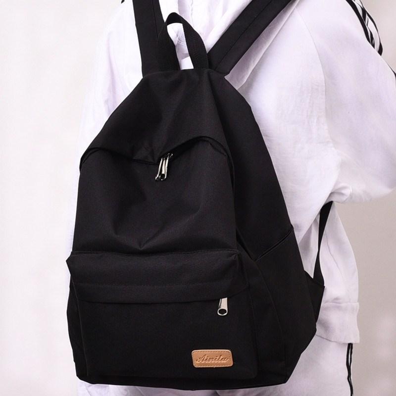 休闲包纯黑小号实用女孩简单容量双肩包学院风背包式男式韩式简约