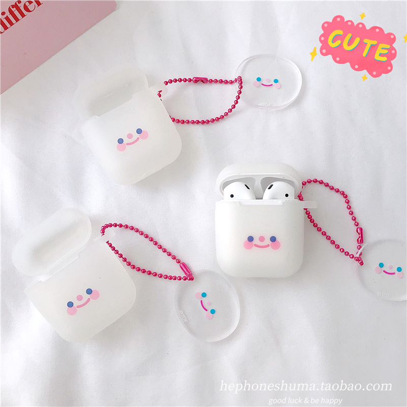ins japan and south korea small face blush expression airpods protective cover 2 generation apple wi..