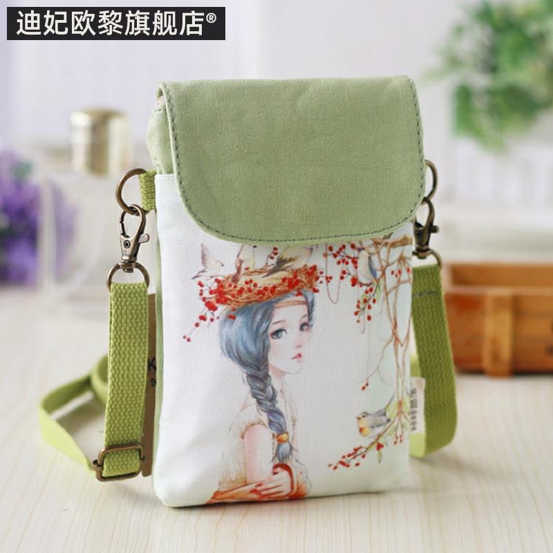 Phiên bản tiếng Hàn của messenger túi điện thoại di động nữ túi đeo vai hoạt hình vải treo cổ điện thoại di động túi xách tay nhỏ mang túi vải nhỏ túi nhỏ - Túi điện thoại