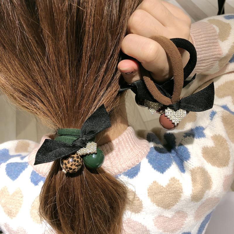 韩国成人豹纹珍珠水钻头绳简约扎头发皮筋发圈气质淑女发绳头饰