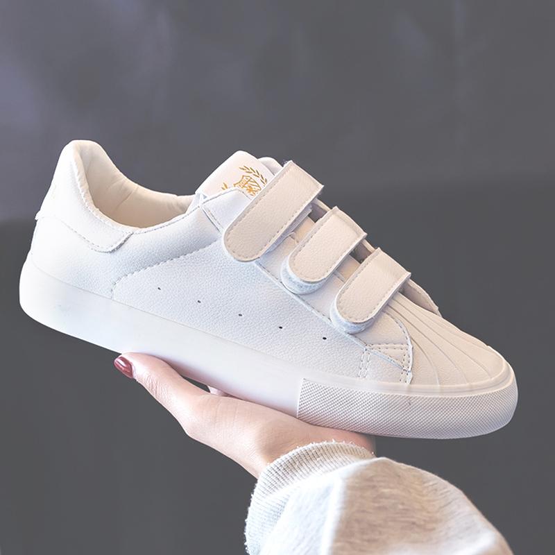 学生怡安踏雪正品贴小白鞋女2019新款百搭韩版魔术板鞋女ins超火