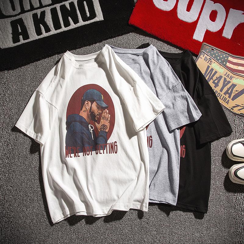 美版NBA詹姆斯纯棉t恤男街头打底肥大嘻哈恤加宽松码胖子短袖衫