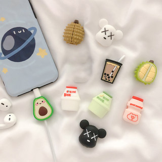 Cartoon suitable for Apple data cable protective sleeve to prevent breaking Korean female models silicone cute super cute personality male new