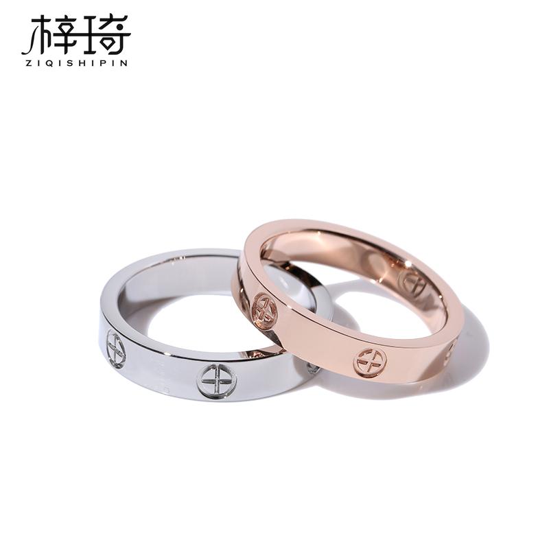 小众设计食指戒指女时尚个性男情侣对戒ins潮冷淡风高级轻奢锆石