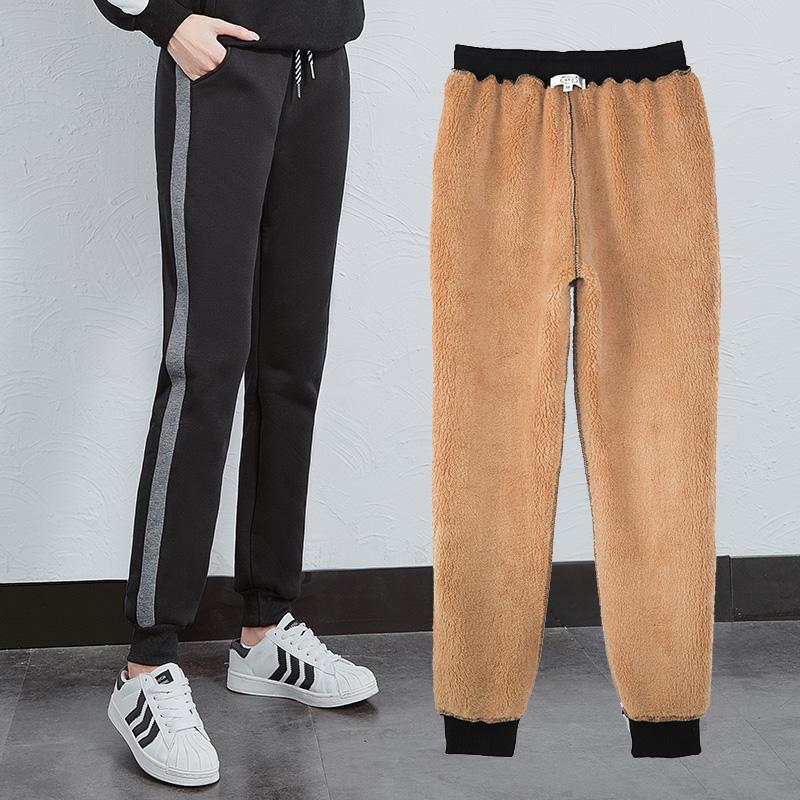 加绒运动裤女冬季新款加厚羊羔绒棉裤大码外穿宽松卫裤哈伦休闲裤