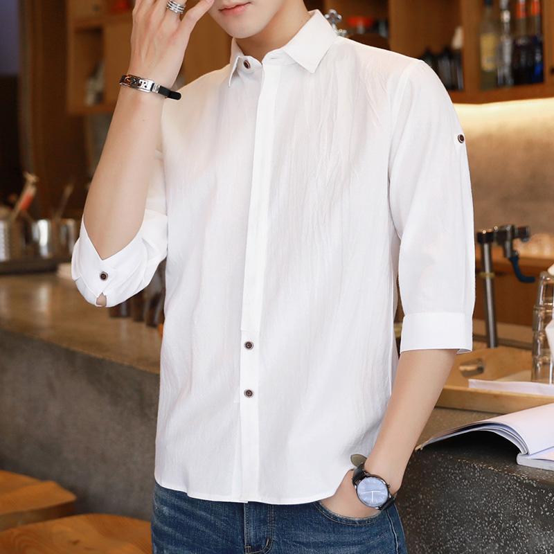 衬衫男七分袖夏季中袖韩版修身五分纯棉寸衫亚麻7分男士短袖衬衣