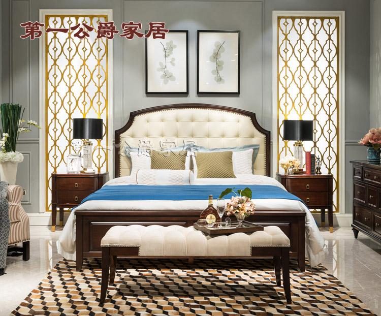 Nội thất cổ điển Âu Mỹ Mới Gỗ nguyên chất Mỹ nguyên chất FW98-1 Queen Bed 1.5 Bedside Bed Bed Stool - Bộ đồ nội thất