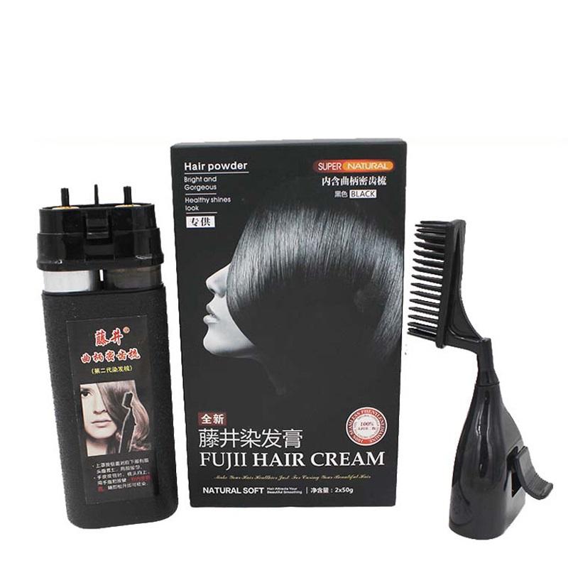 藤井染发膏纯黑色染发梳子第三代魔发梳一梳黑6支植物染发剂正品