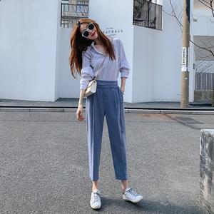 FS41257# 哈伦裤女裤子秋直筒九分高腰韩版西裤宽松垂感西装裤
