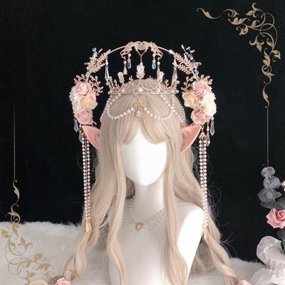 taobao agent Lolita Lolita Rose Headdress, Virgin Crown Original Headdress Halo Hair Crown Handmade