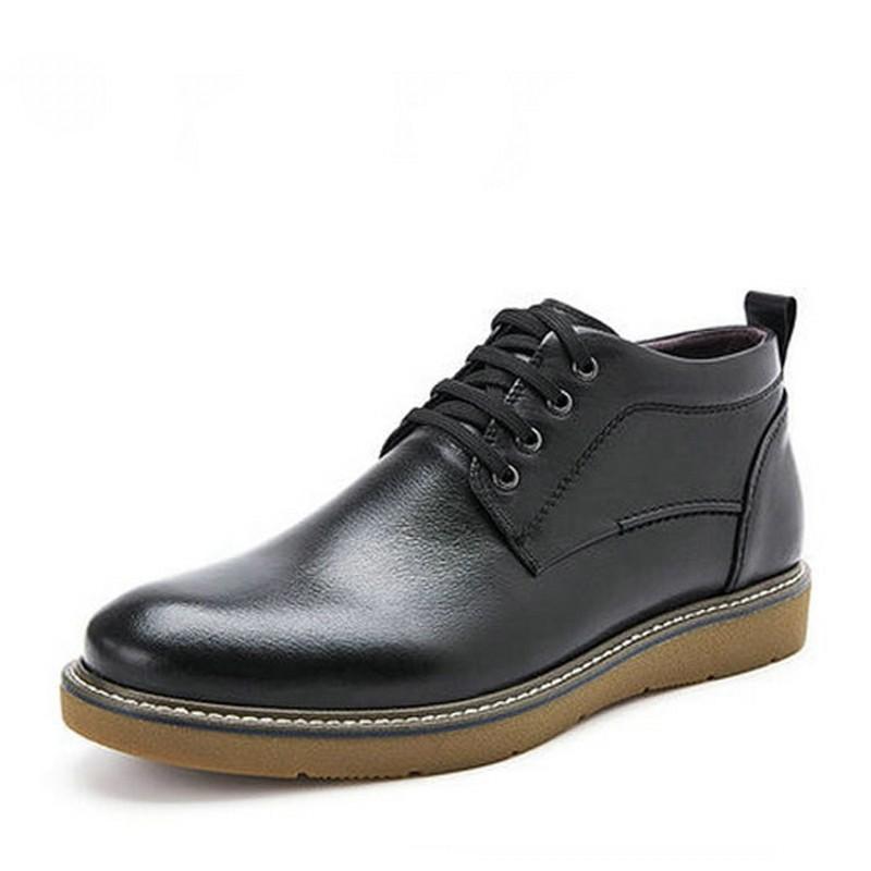 2018新冬款Belle/百丽男鞋加绒皮鞋系带休闲板鞋绒里牛皮靴子男靴