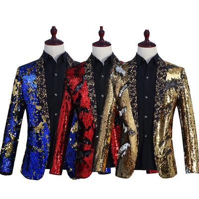Male sequins costumes jacket tide fashion host coat outfit slim blazer singer dancer show nightclub party stage bar