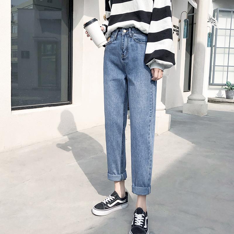 九分直筒牛仔裤女哈伦高腰宽松显瘦韩版时尚ins潮老爹裤bai搭修身