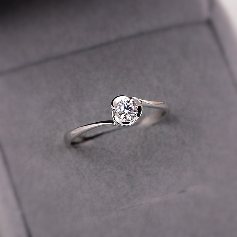 S925 Silver Rings Diamond Ring Silver Wedding Ring Simple Single