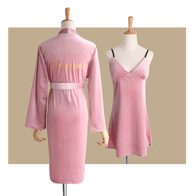 Pink (bridesmaid) Gold Velvet Nightgown + Sling