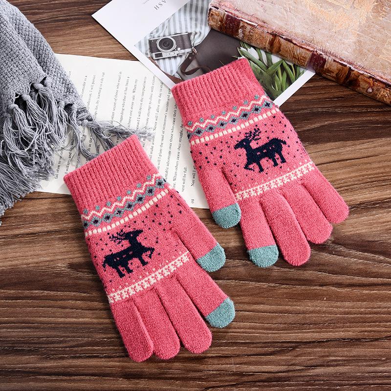 手套女冬季新款加厚保暖加绒可爱小鹿骑车开车抗寒冷毛线手套保暖