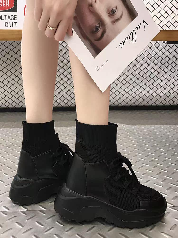 运动鞋女2018潮流新款网红鞋子鞋韩版秋冬内增高厚底百搭高帮袜子