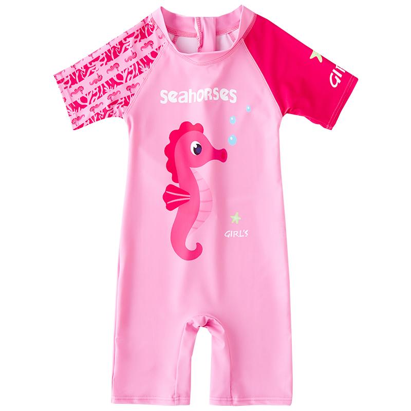 儿童泳衣女童连体小中大童宝宝女孩可爱洋气防晒沙滩游泳衣套装
