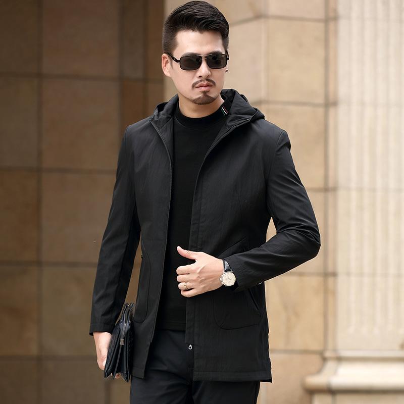 2019春季新款堡 利郎男装夹克男士风衣外套连帽上衣修身中年薄款