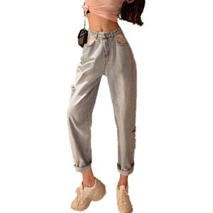 牛仔裤女2020新款春装欧货洋气高腰破洞阔腿老爹裤宽松直筒九分裤