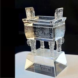 办公室奖杯摆件透明水晶鼎办公桌桌面镇纸开业创意礼品装饰工艺品图片