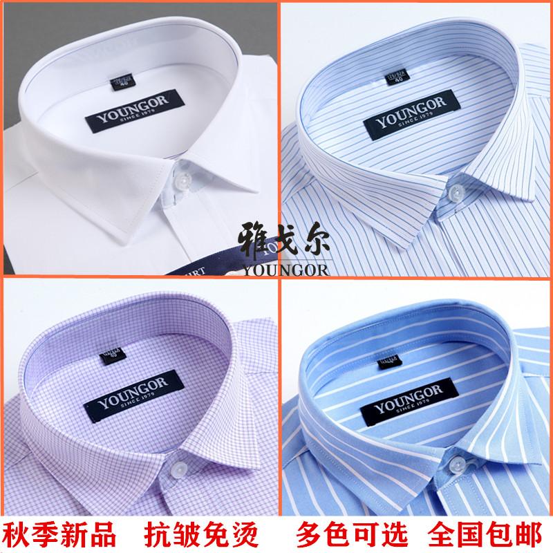 雅戈尔秋季薄款男士衬衫长袖纯棉格子新款条纹正品商务纯白色衬衣