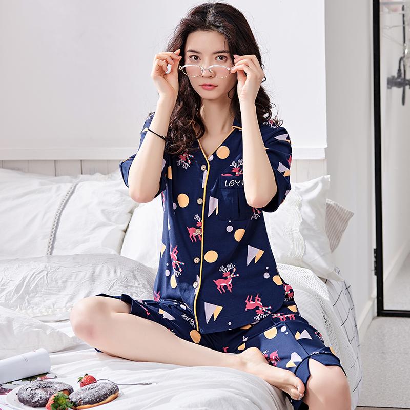 睡衣女夏纯棉套装短袖甜美可爱清新