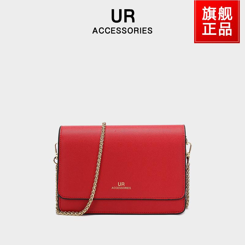 UR链条包包2021新款潮时尚百搭斜挎包高级感小方包简约大气女包红