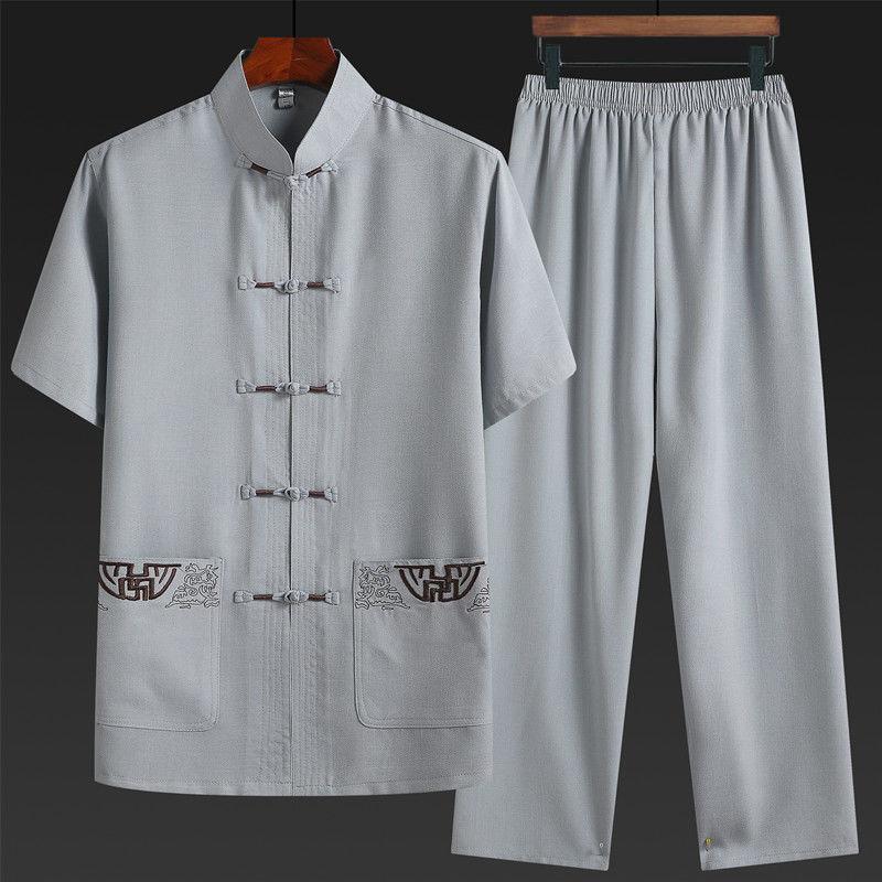 唐装男中老年休闲短袖套装夏季爸爸装中国风男装老年人汉服衣服夏
