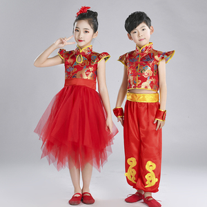 Chinese dragon drummer performance costumes for boy girls Children martial arts costumes Chinese Yangko costumes for drum beating and dancing costumes for new year Day