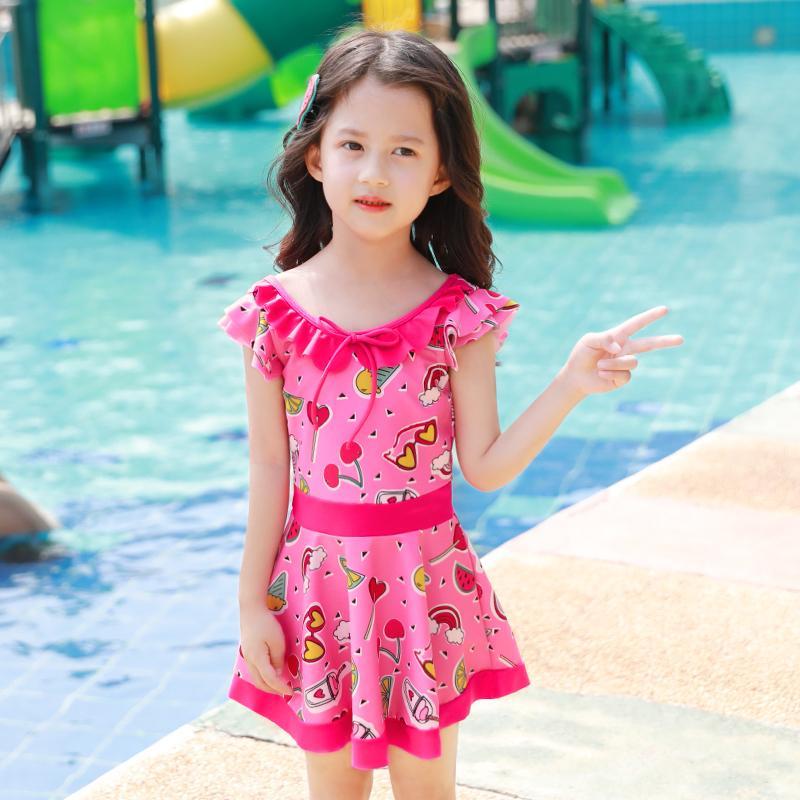 迪卡侬/q361佑游小孩儿童连体中大童宝宝女孩幼儿可爱女童泳衣公
