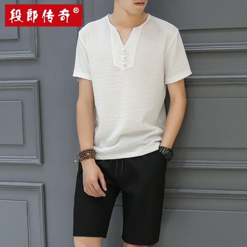 段郎传奇男士套装夏季2019新款潮流韩版休闲衣服一套男装短袖t恤