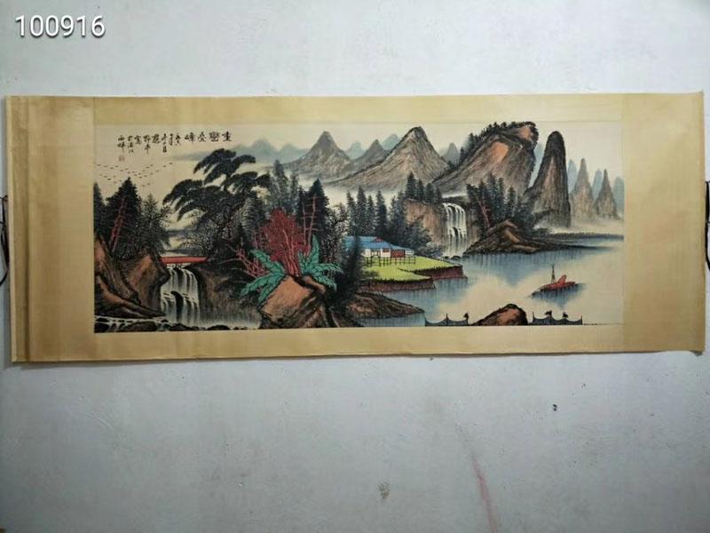 878古玩收藏老人物纯装饰手绘字山水横幅六尺国画画花鸟中堂名家