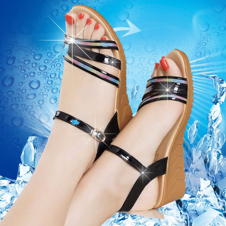 9038a215e713 Pink wants wedge sandals female summer 2018 new women s shoes flat bottom  with non-slip