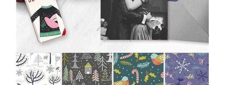 华丽花卉复古圣诞节平铺无缝背景花纹矢量背景元素图案设计素材插图(10)