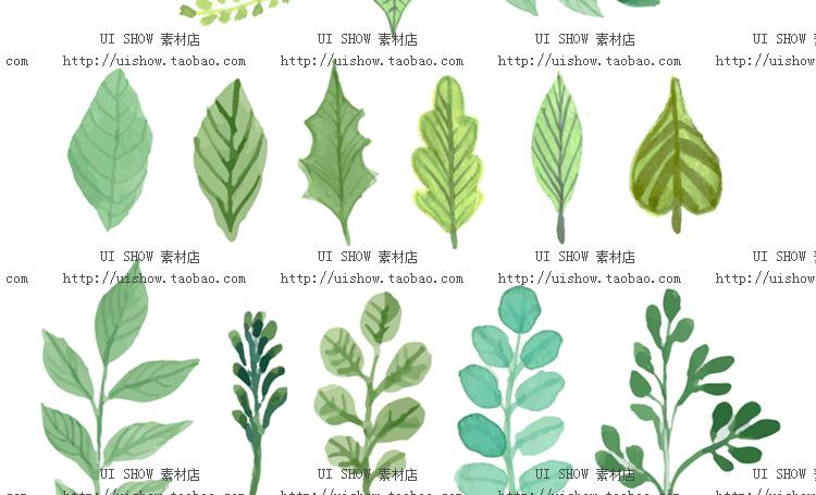 小清新水彩手绘树叶热带棕榈叶植物叶子插画背景海报矢量图片素材插图(8)
