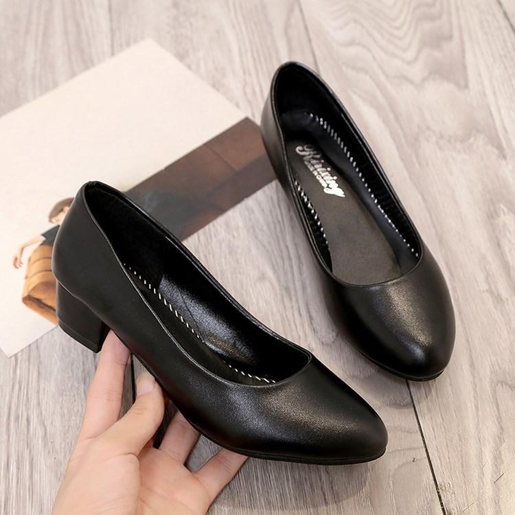 春季软皮工作鞋黑色皮鞋职业高跟鞋女工装空姐通勤正装女鞋