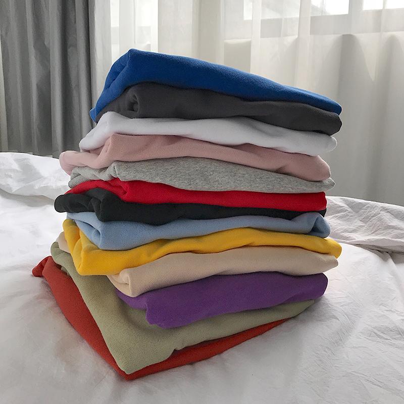 Áo len cổ tròn cho nam áo thun dài tay áo hoodie xu hướng áo khoác nam mùa thu màu tinh khiết Hàn Quốc áo sơ mi rộng đáy - Áo len