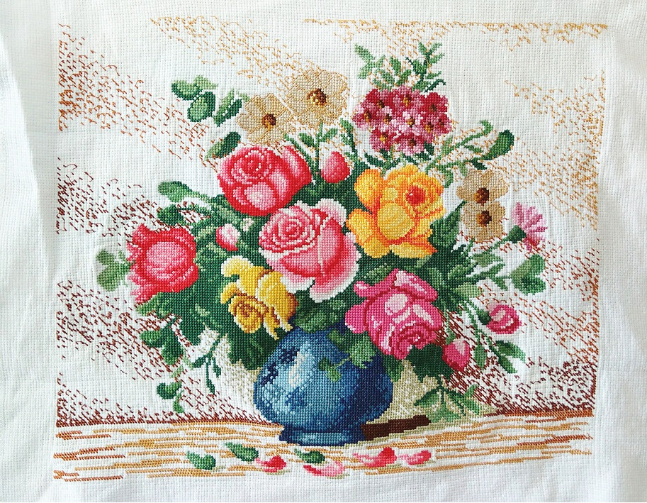 "Large New Completed finished cross stitch/""Classical Flower Vase/""home decor gift"