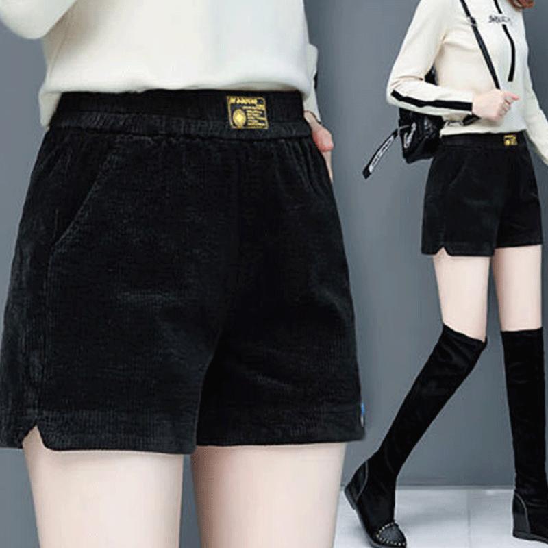 瓦熙灯芯绒条绒短裤女2021新款阔腿裤