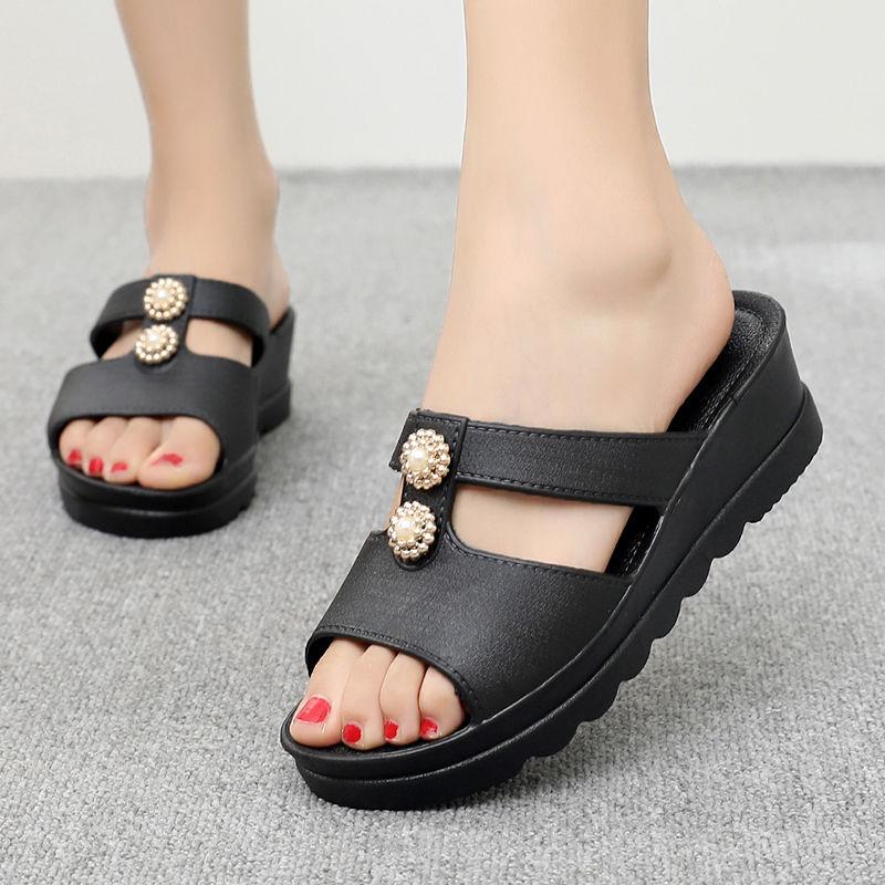 瓦熙拖鞋女家用厚底增高坡跟防滑社会女士