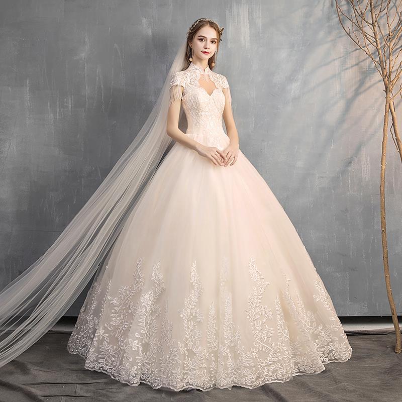 婚纱礼服新娘2019新款赫本立领韩式宫廷显瘦包肩公主梦幻齐地女