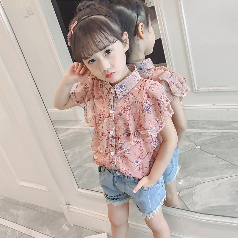 女孩雪纺2020新款韩版夏装短袖衬衣洋气衬衫中大童儿童女童a女孩潮