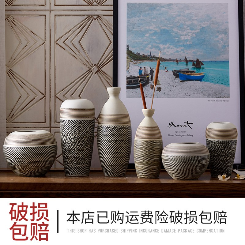 Xing Jingdezhen Vase decoration Ceramic living room Flower arrangement Home creative entrance restaurant Simple ceramic can decoration craft