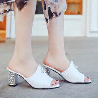 查看粗跟凉拖鞋女夏白色中高跟拖女士凉拖水晶根拖鞋价格