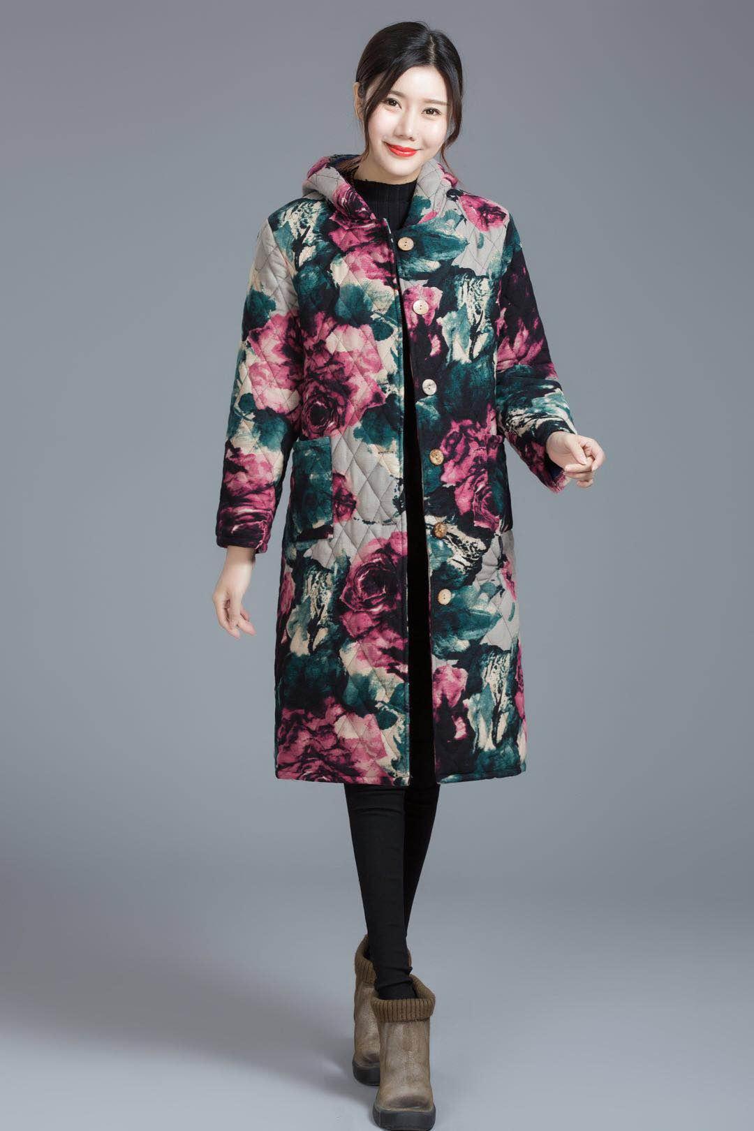 冬季新款民族风女士大码风衣加棉中长外套显瘦百搭碎花棉衣