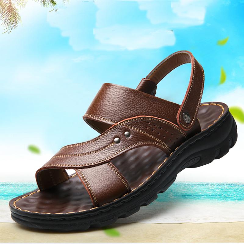 休闲凉鞋男士真皮沙滩鞋2019夏季新款凉拖鞋两用凉鞋舒适休闲鞋,免费领取30元淘宝优惠券